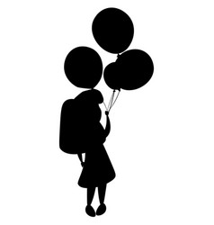 Girl silhouette and balloons vector