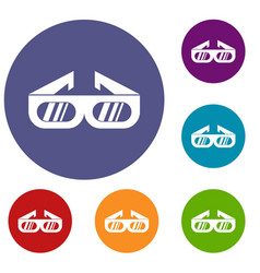 glasses for 3d movie icons set vector image