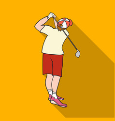 Golfer after kick icon in flat style isolated on vector