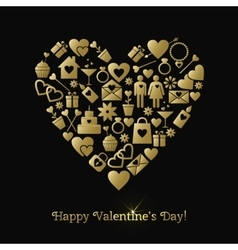 Happy Valentines Day greeting card with gold vector image vector image