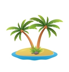 island logo - tropical palm trees with sea waves vector image
