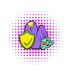 Landslide and yellow shield with tick icon vector