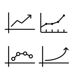 line chart graph icon on white background vector image vector image