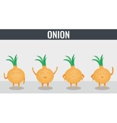 Onion Funny cartoon vegetables Organic food vector image