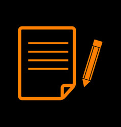 Paper and pencil sign orange icon on black vector