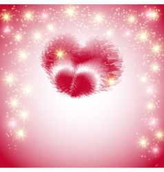 Postcard with a heart made of feathers on a pink vector image