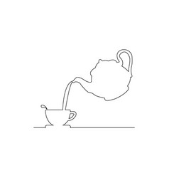 pouring coffee from kettle to tea cup vector image