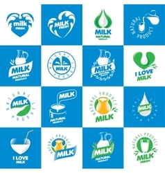 set of logos milk vector image