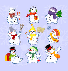 set of winter holidays snowman on blue background vector image