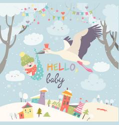 Stork bird with baby vector