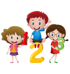 three children and numbers vector image