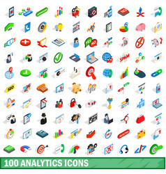 100 analytics icons set isometric 3d style vector