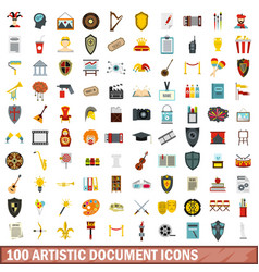 100 artistic document icons set flat style vector image