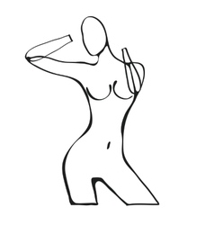 Beautiful black and white nude woman silhouette vector