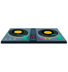 Disc jockey machine with two music disks vector