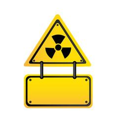 Metal emblem warning radiation notice sign vector