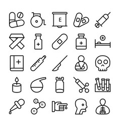 Medical health and hospital line icons 2 vector