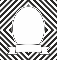 Hand drawn photo frame on black and white stripes vector