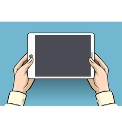 Hands holding tablet computer vector