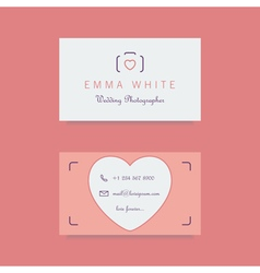 Wedding photographer business card template vector
