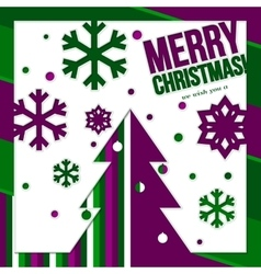 Christmas card made from cutting paper showing vector