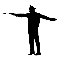 Black silhouettes police officer with a rod on vector