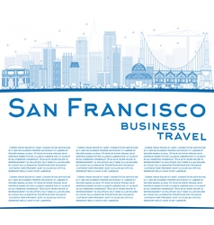 Outline san francisco skyline with blue buildings vector