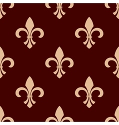 Medieval brown royal fleur-de-lis pattern vector