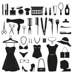 Beauty and fashion icons collection vector