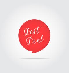 best deal label handdrawn lettering red color vector image