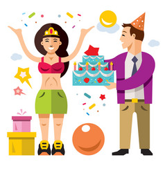 Birthday flat style colorful cartoon vector