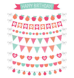 Birthday party decoration set vector image vector image