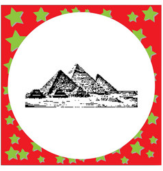 Black 8-bit giza pyramids egypt vector