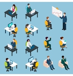 Business people isometric pictograms collection vector image vector image