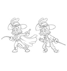 Cartoon musketeer with sword character set vector