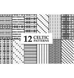 celtic knot seamless pattern set vector image vector image