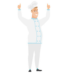 chef cook standing with raised arms up vector image