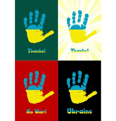 Childs handprint paint the flag of Ukraine vector image