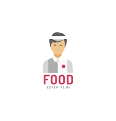 Chinese or japanese fast food man silhouette logo vector