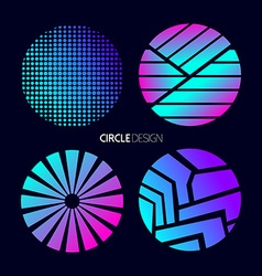 Circle design set with abstract geometry shapes vector image