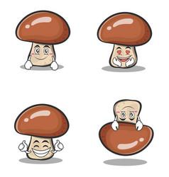 Collection mushroom character cartoon set vector