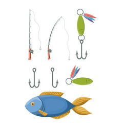 colorful set collection elements to fishing rod vector image