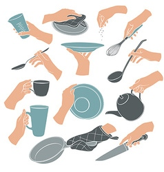 Cooking hands icons vector image