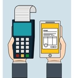 Dataphone smartphone invoice payment icon vector