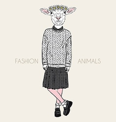 Fashion of cute ship girl in wool knitted pullover vector
