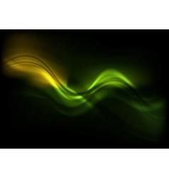 Green orange wavy design on black background vector
