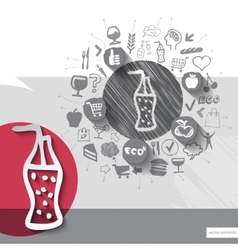 Hand drawn cola icons with food icons background vector
