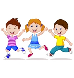 Happy children cartoon running vector image