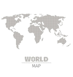 Hexagonal dots world map on white background vector