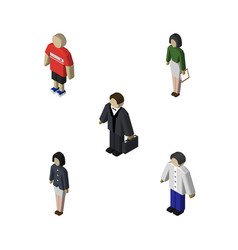 isometric human set of girl investor pedagogue vector image vector image